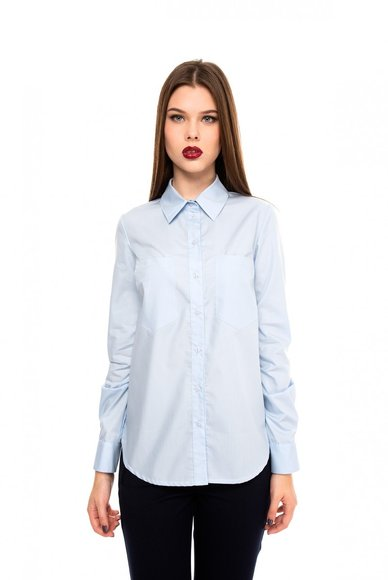 Blue blouse with patch pockets