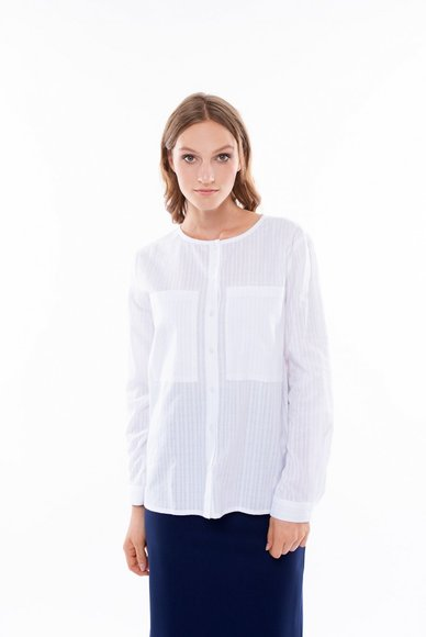 White blouse with patch pockets