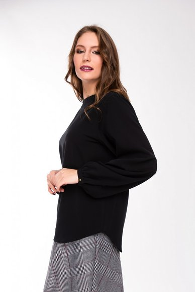 Black Crew Neck Blouse