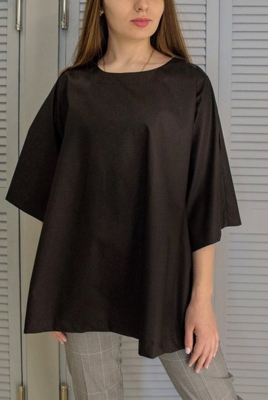 Blouse free cut black