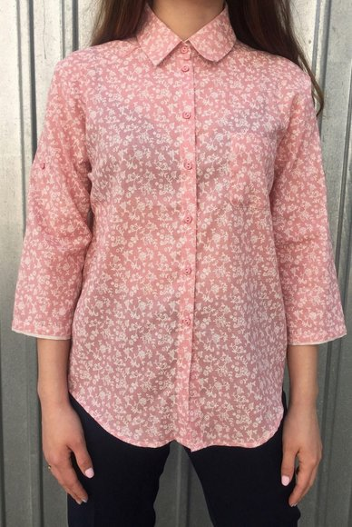 Pink blouse in flowers