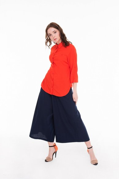 Bright coral blouse with 3/4 sleeves