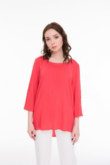 Blouse, straight cut, coral