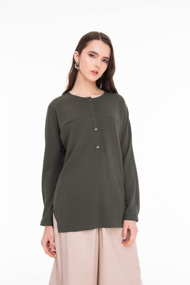 Blouse straight cut, khaki