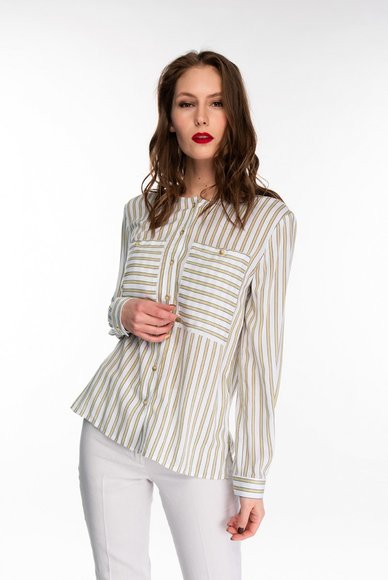 Striped blouse with patch pockets