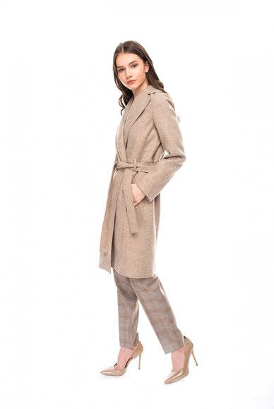 Beige coat with belt