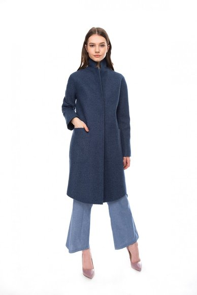 Blue coat with patch pockets