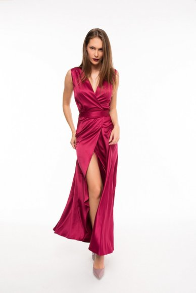 Evening dress with fuchsia