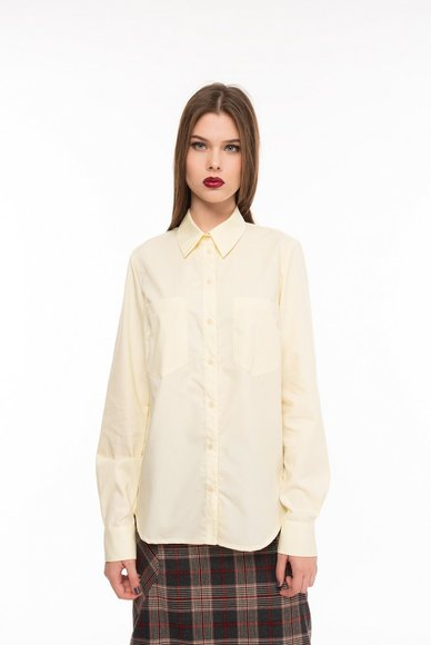 Yellow blouse with patch pockets