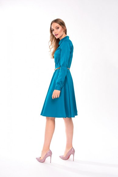 Turquoise shirt dress with belt