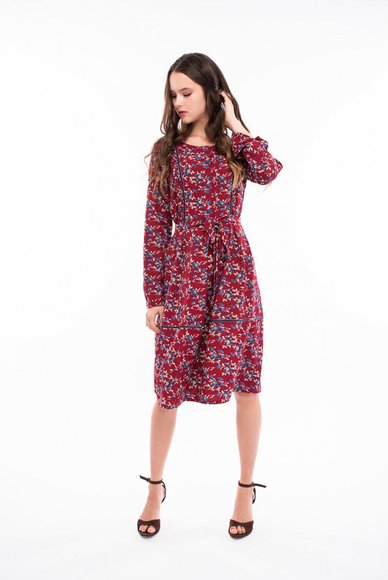 Bordo dress in flowers
