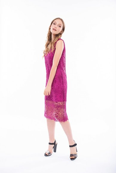 Lace dress in fuchsia, 2 in 1