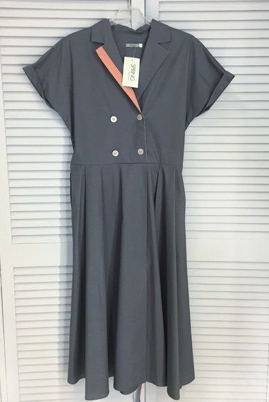 Gray dress with buttons and a belt