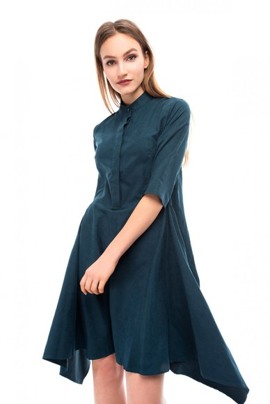 Dark - green dress with asymmetrical hem