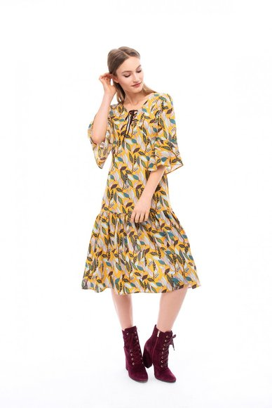 Midi length dress with print