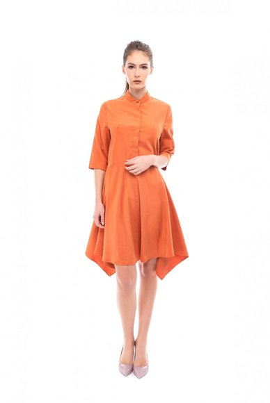 Orange dress with asymmetrical hem