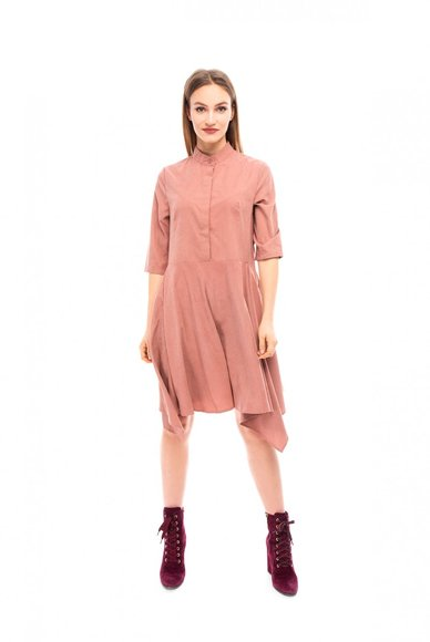Pink dress with asymmetrical hem