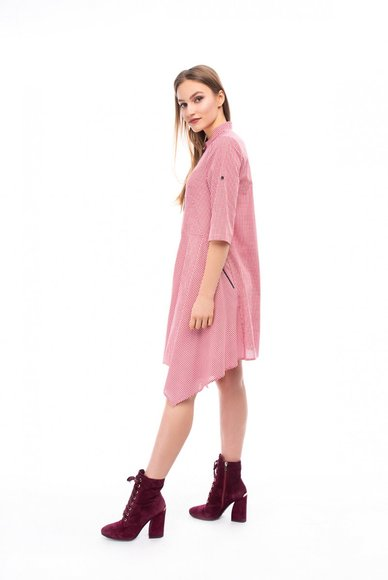 Check dress with asymmetrical hem