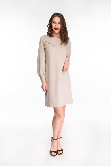 Beige dress straight cut