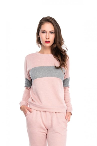 Pink sweatshirts with gray insert