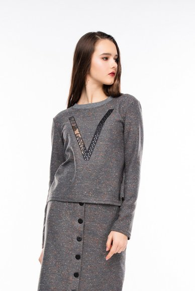 Gray print sweater