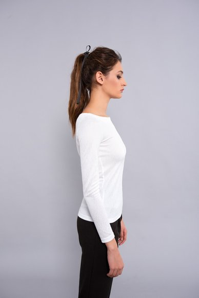 White Crew Neck Blouse