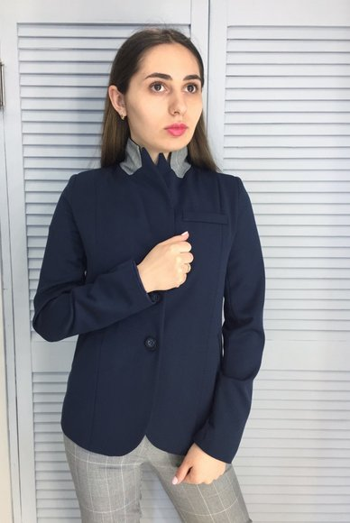 Navy blue button-down jacket