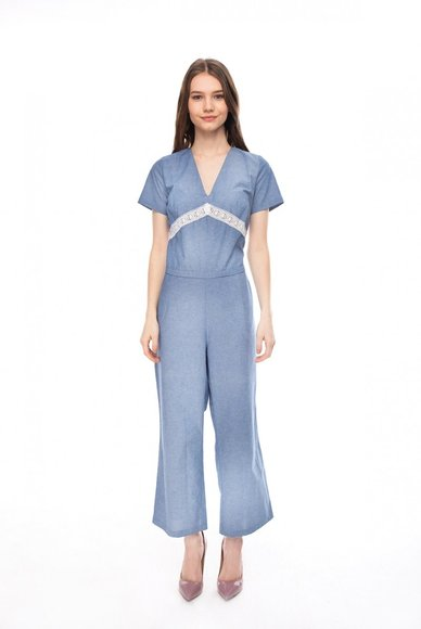 Blue backless jumpsuit