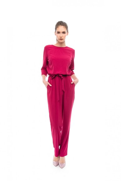 Bright crimson jumpsuit