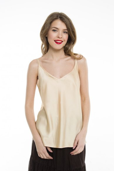 Beige T-shirt with V-neck