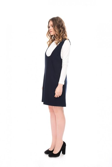 Navy blue sundress with a deep neckline