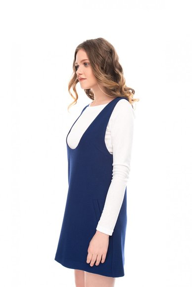 Blue sundress with a deep neckline