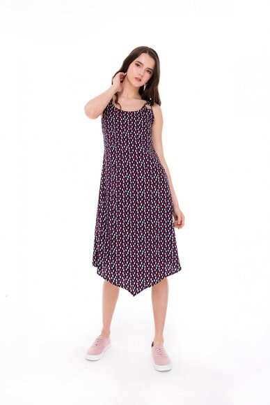 Printed sundress with asymmetrical length