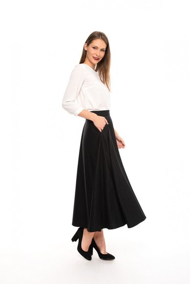 Black midi-length skirt