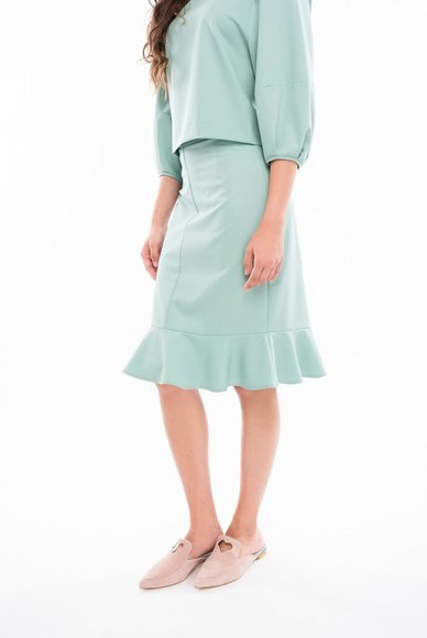 Mint-colored skirt with ruche