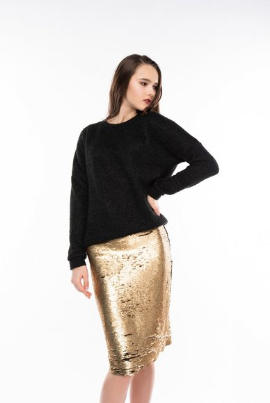 Skirt with sequins, black and gold