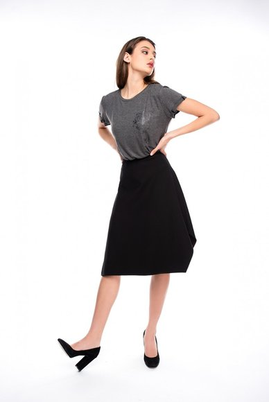 Asymmetrical black skirt