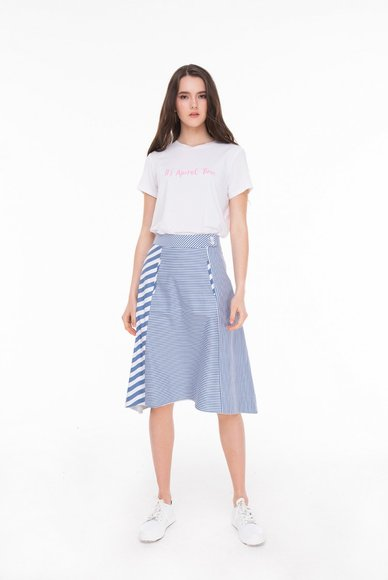 Striped combination skirt