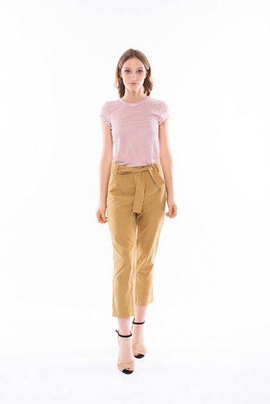 Mustard-colored trousers