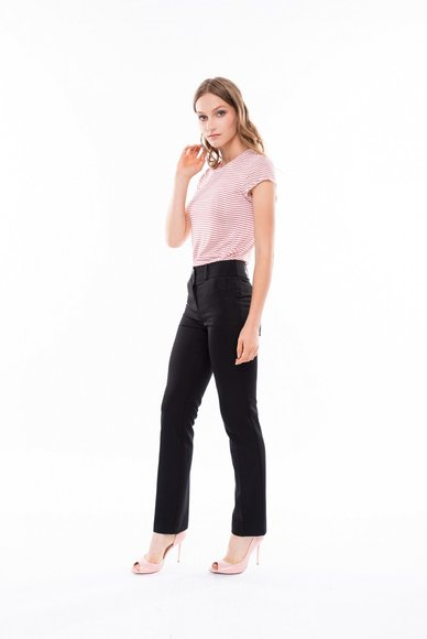 Black straight cut trousers, with arrows