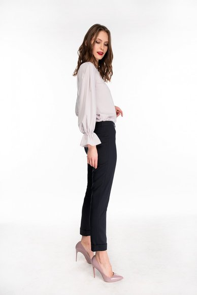 Navy Blue Cuffed Pants