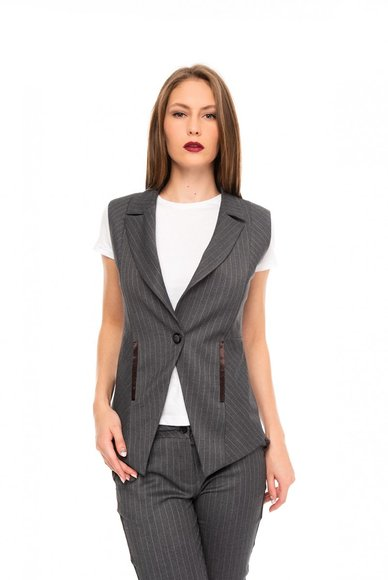 Dark Gray Striped Vest
