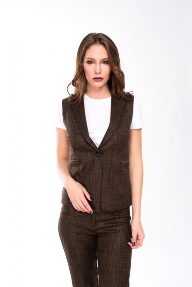 Brown waistcoat with a button